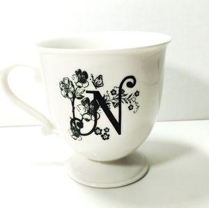 Anthropologie Floral Monogram N Mug